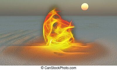 Fire burning in desert Sands