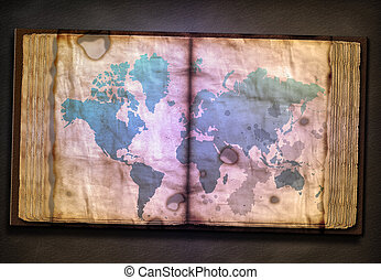 Old Tome with World Map