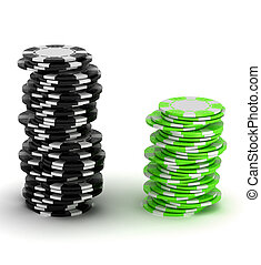 Black and green Casino chip stacks - Black and green Casino...