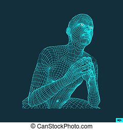 Man in a Thinker Pose. 3D Model of Man. Human Body Wire...