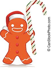 Gingerbread Santa holding Candy Cane - Vector Illustration...