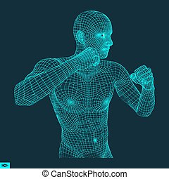 Boxer. Fighting Man. 3D Model of Man. Sport Symbol.