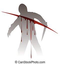 Killer silhouette against blood splashes - Killer silhouette...