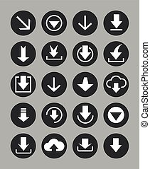Downloading icons set in black circles. Vector illustration