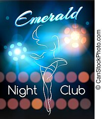 Night Club poster template with dancing silhouettte and...