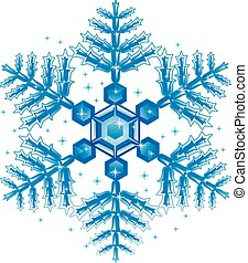 Blue Snow Flakes - Vector Illustration of Blue Snow Flakes