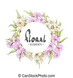 The frame of the popular colors - Flower frame with gentle...