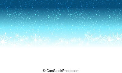 Christmas video animation with snow and blue label