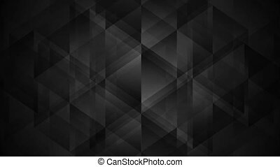 Black geometric polygonal tech video clip. Dark low poly...