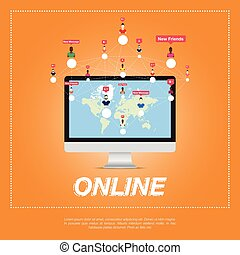 Online city, people communicate in a network. World map on...