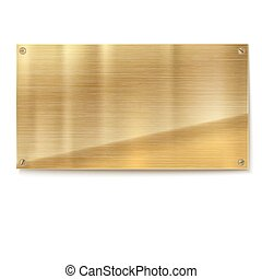 Shiny brushed metal gold, yellow plate banners on white background