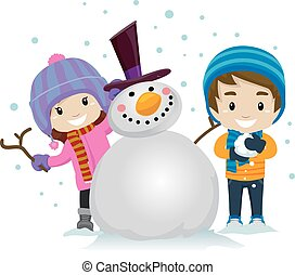 Little Kids making Snowman - Vector Illustration of Little...