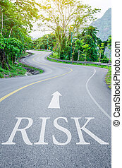 Red Risk written on S curve road.