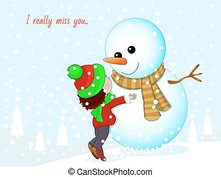 I really miss you - Little girl and snowman. Baby hugging a...