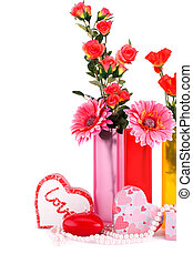 Valentine's day - Flowers, red heart candle, necklaces, gift...