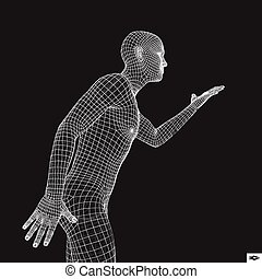 Man Points to Something by Hand. 3D Model of Man.