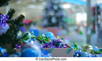 Christmas Tree and bulbs at store