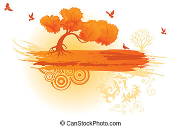 Tree banner with palm tree, dolphin, crab, starfish, vector...