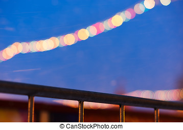 Diagonal border with new year illumination on red square...