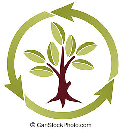 Tree with leaves and recycling symbol - Stylized Tree with...