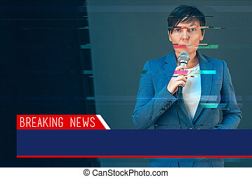 Breaking news with digital glitch effect - elegant female...