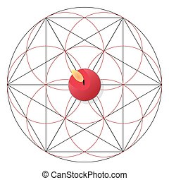 Magic ritual with candle. Sacred geometry sign - Magic...