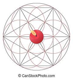 Magic ritual with candle. Sacred geometry sign - Magic...