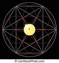 Magic ritual. Sacred geometry sign. Candle - Magic ritual...
