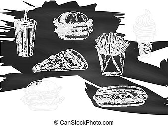 Fast food snacks and drinks chalk sketch icons - Fast food...