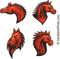 Angry flaming horse mascot set