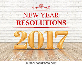 2017 new year resolutions golden color (3d rendering) on...