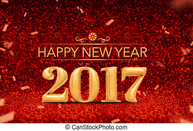 happy new year 2017 (3d rendering) gold shiny color at...