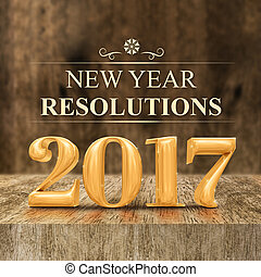 Gold shiny 2017 new year resolutions (3d rendering) at...