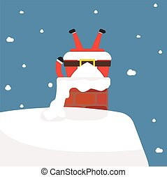 Santa Claus stuck in the chimney.