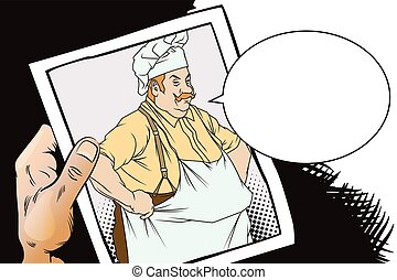Chef with hands on hips. Hand with photo. - Stock...