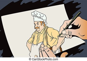 Chef with hands on hips. Hand paints picture - Stock...
