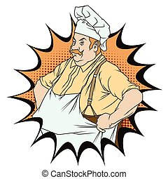 Chef with hands on hips - Stock illustration. People in...