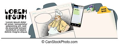 Chef with hands on hips. Advertising your products. - Stock...