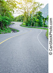 An empty S-Curved road on skyline drive. - An empty S-Curved...