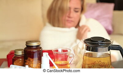 Pills and nose drops treatment of colds, flu and runny - Ill...