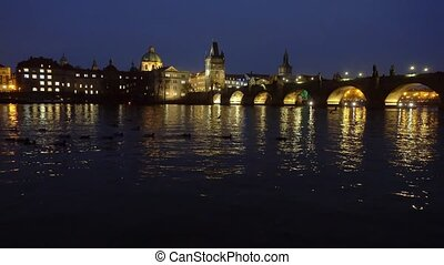 Famous landmark Charles bridge at dusk - Famous landmark...
