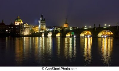 Famous landmark Charles bridge at night timelapse pan left...