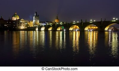 Famous landmark Charles bridge night timelapse - Famous...