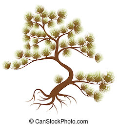 Tree cedar - Stylized Tree cedar with needle, for design