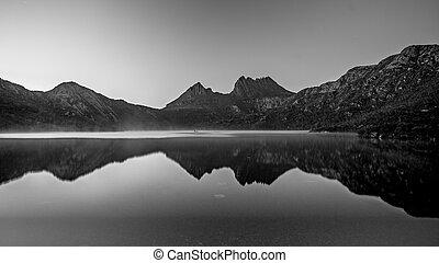 Montaña, picos, luz, aguas, mañana, temprano, Ilumina,...