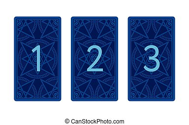 Three card tarot spread. Reverse side. Number 1, 2, 3