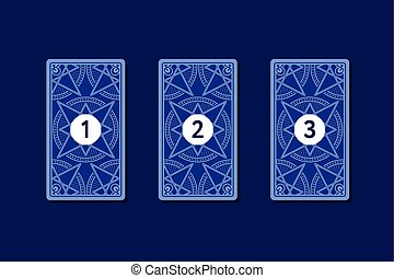 Three card tarot spread. Reverse side