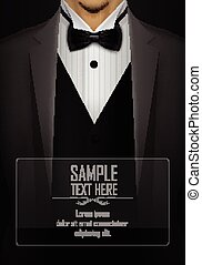 Grey tuxedo with black bow tie