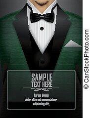 Green tuxedo bow tie illustration