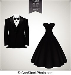 Black tuxedo and black bridal gown